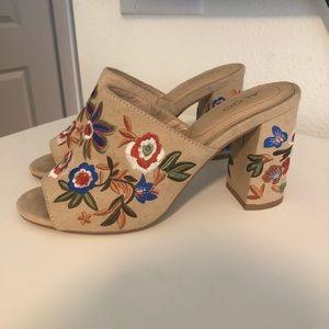 Aldo Embroidered Block Heels